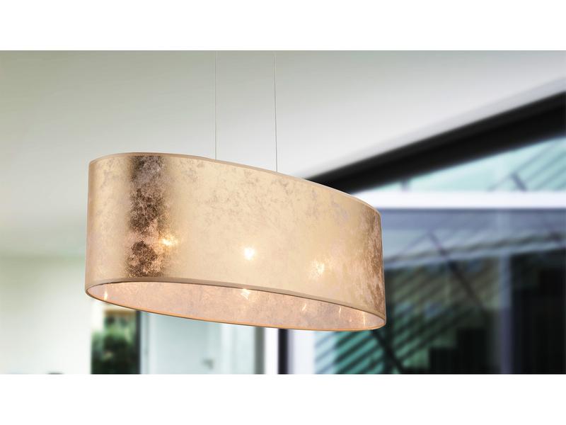 Pendelleuchte Lampe Esstisch Globo LED Hängelampe Stoffschirm silber 65x25cm