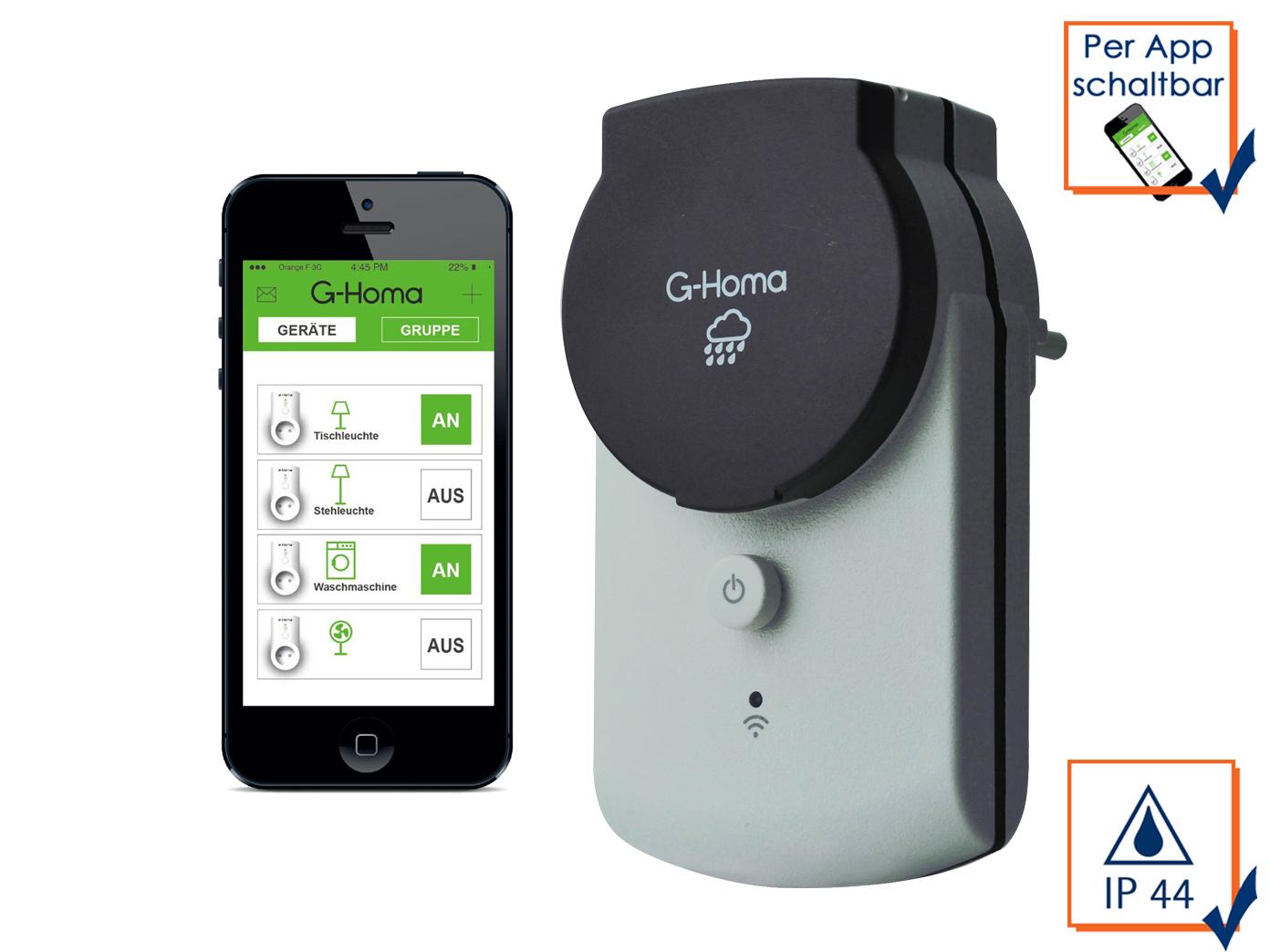 Details zu G Homa WiFi Outdoor Schaltsteckdose, schalten per APP Funksteckdose WLAN Stecker
