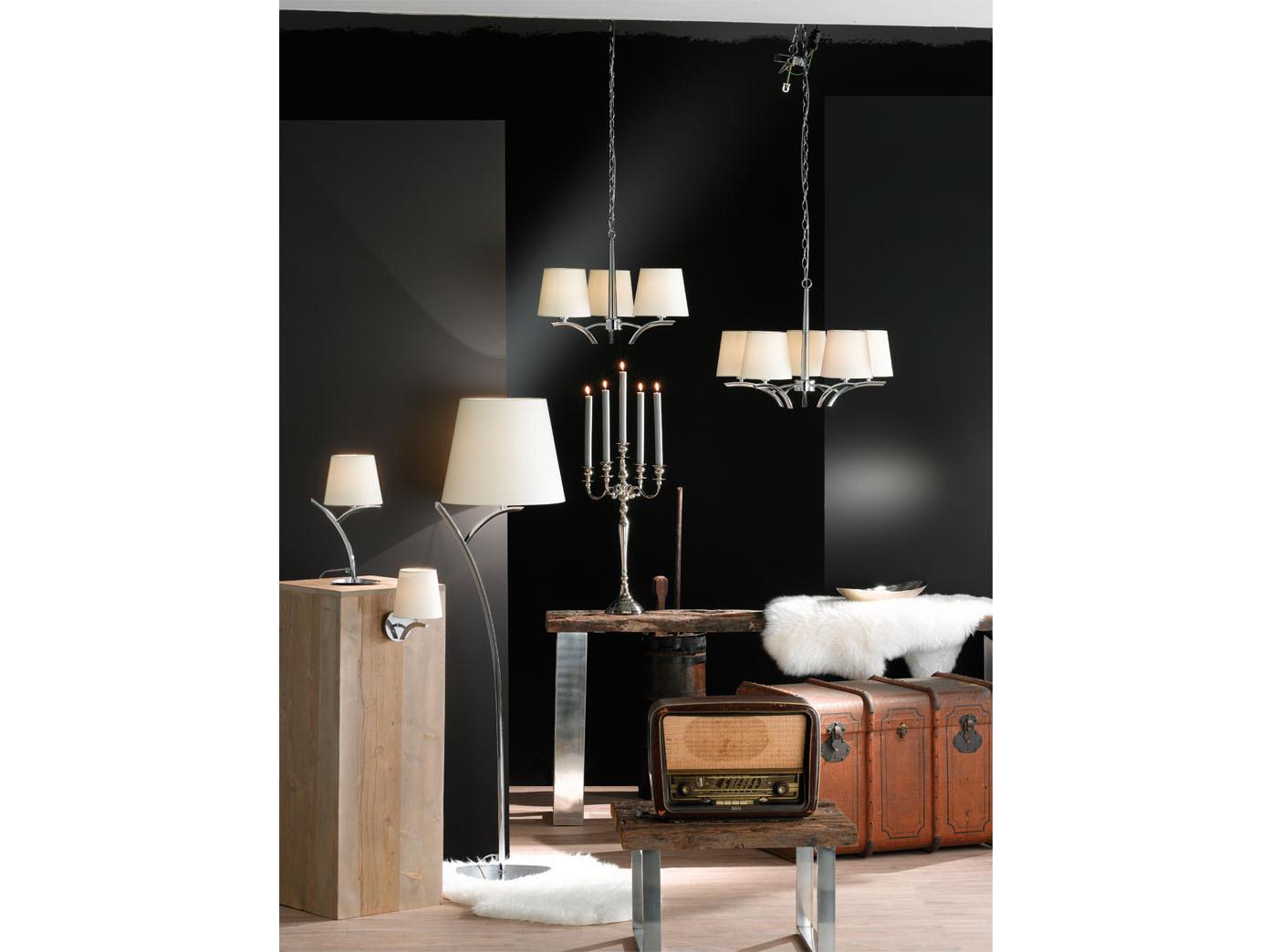 HONSEL Design Stelo Luce Luce Luce y moderno, cromo tessuto bianco, Piantana Luce Salotto Lampada ca336c