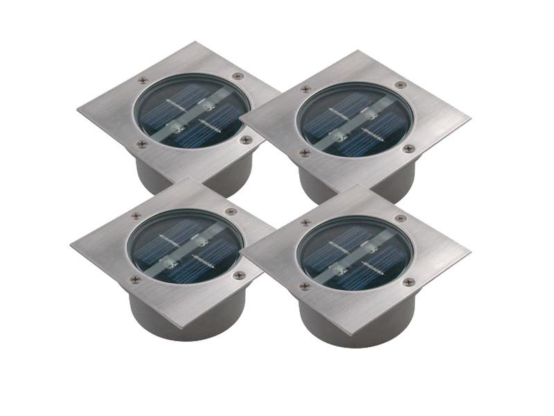 4er-Set Solar Bodeneinbauleuchte Edelstahl Bodenstrahler Garten Einbauleuchte