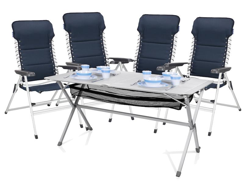 Camping SET Alu Campingtisch Groß Mit Stühlen Rolltisch